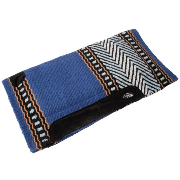 New Zealand Merino Blanket Saddle Pad in Blue/Black Chevron