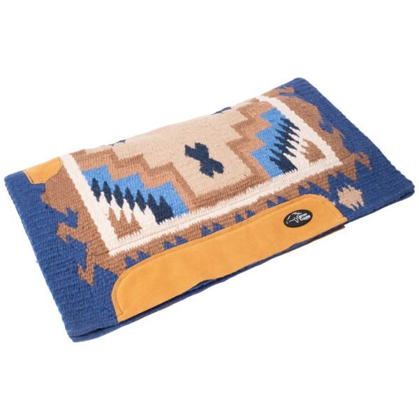 New Zealand Merino Blanket Saddle Pad in Blue/Brown/Cream