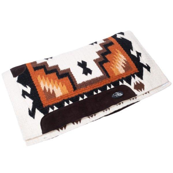 New Zealand Merino Blanket Saddle Pad in Sunset Orange/Cream